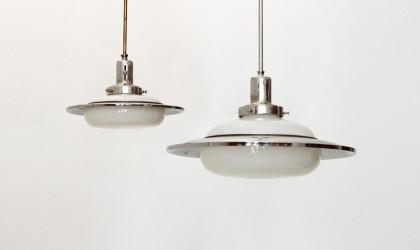 lampadari cromati : Coppia di lampadari a disco dec? anni 40,chandelier,40s vintage ...