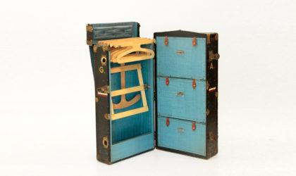 Baule Armadio da viaggio, primi del 900, maniglie in cuoio, traveling trunk