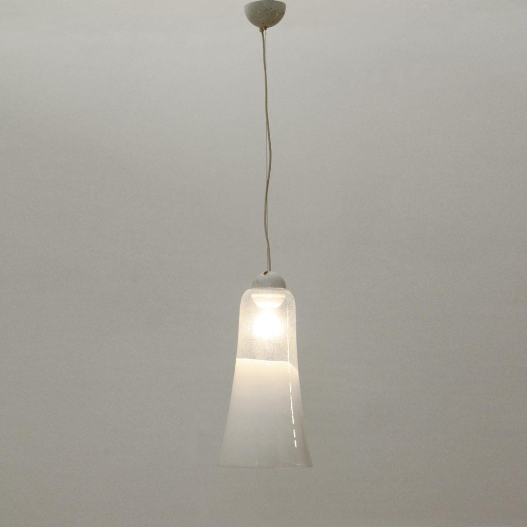 lampadario a campana in vetro di murano uso interno