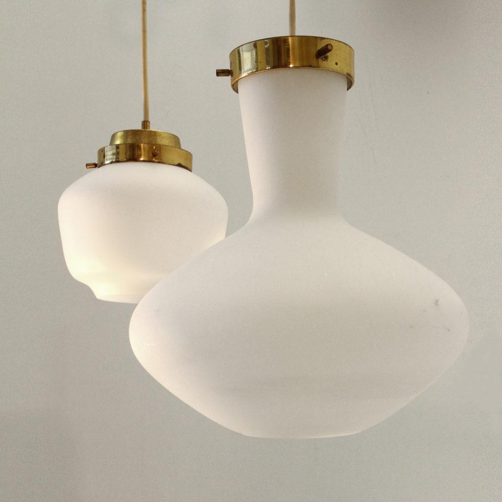 Coppia di lampade a sospensione stilnovo anni 39 50 uso interno - Lampade da tavolo anni 50 ...