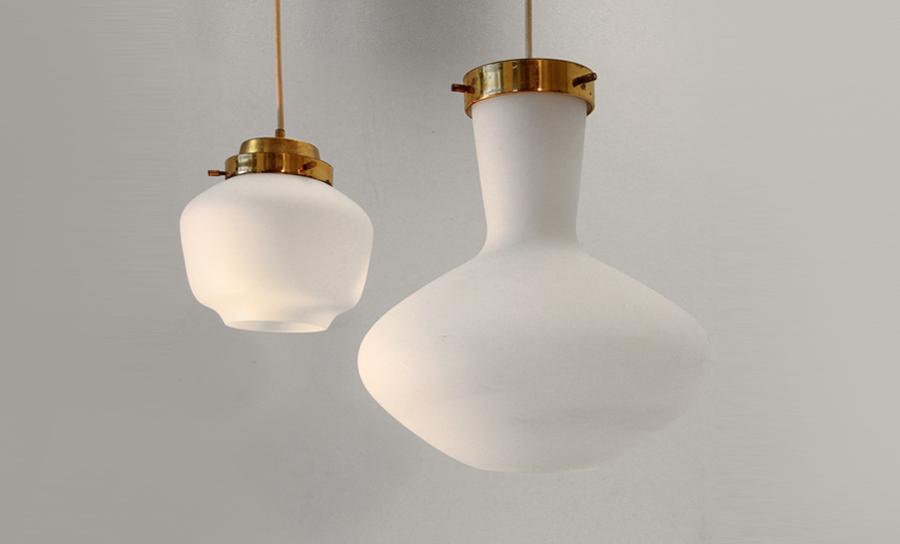 Coppia di lampade a sospensione stilnovo anni 39 50 uso - Lampade da tavolo anni 50 ...