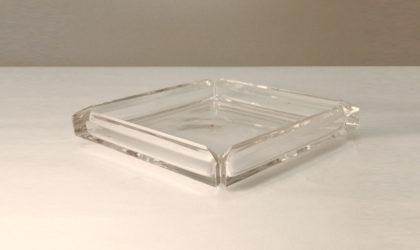 Posacenere in cristallo quadrato Colle, 1970, ashtray, crystal, vintage