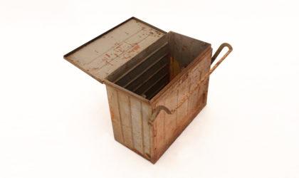 Cassa militare in metallo porta munizioni , vintage, military, worldwar
