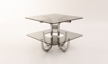 Tavolino con doppio piano in vetro anni 70, italian coffee table, chrome marble glass