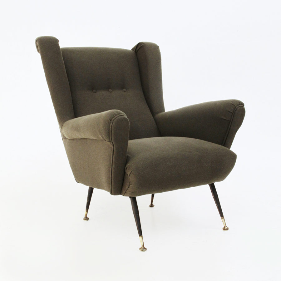 Poltrona in tessuto verde anni 50 mid century armchairs for Poltrona design ebay