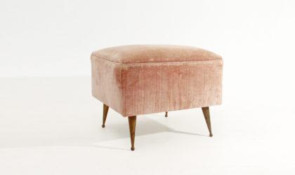 Pouf con gambe in ottone anni 50, mid century modern, zanuso carlo de carli style
