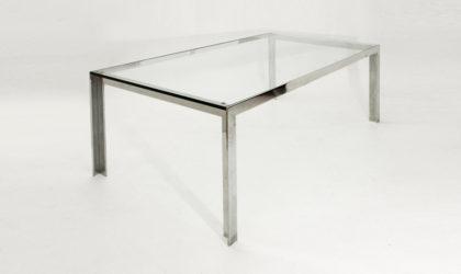 Tavolo da pranzo con piano in vetro anni 70, glass dining table mid century italian modern, 70s, chromed, gavina, zanotta, cidue, nanda vigo, willy rizzo
