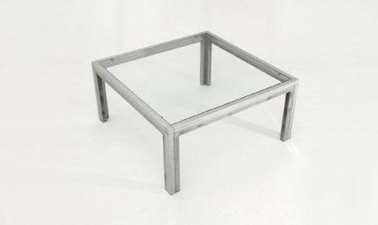Tavolino quadrato con piano in vetro anni 70, coffee table chromed, glass, mid century, italian design, romeo mega, willy rizzo