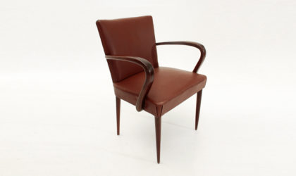 Poltroncina in finta pelle bordeaux anni 30, armchair, office chair, mid century modern, art decò, 30s, italian design