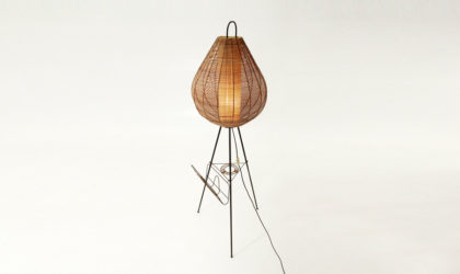 Lampada tripode con diffusore in rattan anni 50, mid century floor lamp, italian design, canna d'india, 50's