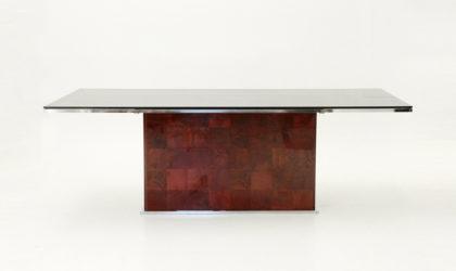 Tavolo di Willy Rizzo per Mario Sabot anni 70, mid century table, dining, burl, 70's, italian design
