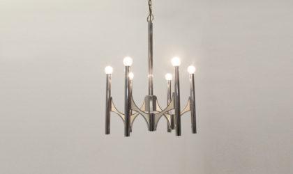 Lampadario Sciolari a sei luci anni 70, mid century chandelier, 70's , chromed, space age, luxury, italian modern design