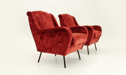 Coppia di poltrone in velluto rosso anni 50, mid century velvet arnchairs, 50's, italian modern design, vintage, red, frattini, parisi, ponti