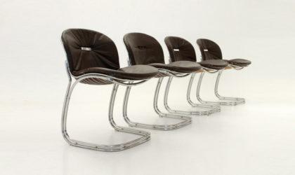 Quattro sedie Sabrina di Gastone Rinaldi per Rima anni 70, mid century chairs, 70's, chrome, dining,