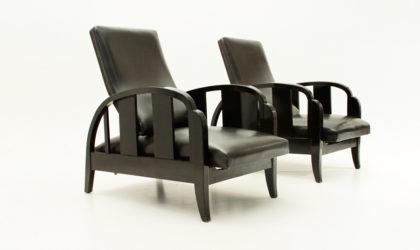 Coppia di poltrone reclinabili Art Decò anni 30, mid century armchairs, recliner, 30's, design, decoration, leather, black