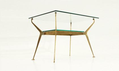 Tavolino in ottone e vetro anni 50, mid century coffee table, 50's, cesare lacca, italian modern design, brass, glass, gio ponti