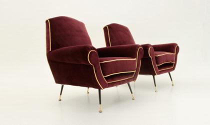 Coppia Di Poltrone In Velluto bordeaux e giallo anni '50, mid century armchairs, velvet, italian design modern, minotti, gigi radice