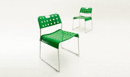 Due sedie Omstak verdi di Rodney Kinsman per Bieffeplast anni 70, chairs, post modern, mid century green, italian, joe colombo