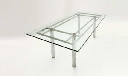 Tavolo rettangolare Andrè di Tobia Scarpa per Gavina anni 60, mid century dining table, chromed, glass, 60's, cromato, knoll
