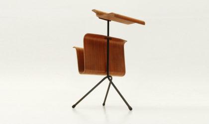 Porta riviste in legno curvato anni '50, magazine rack bent plywood, 50's, italian mid century modern, campo e graffi, mollino, parisi
