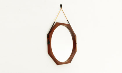 Specchio con cornice ottagonale in teak anni '60, octagonal mirror, frame, italian mid century modern, design, 60's, parisi