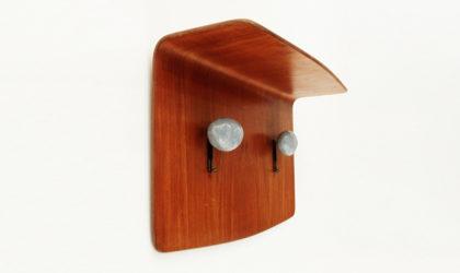 Appendiabiti in legno curvato di Campo e Graffi per Home anni 50, mid century hunger, teak, plywood, 50's, italian design , ceramic