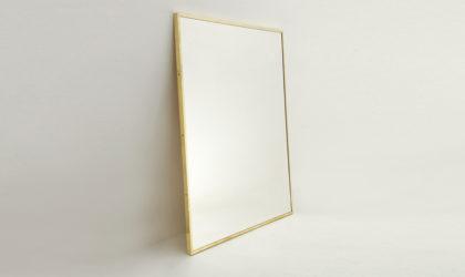 Specchio rettangolare con cornice in ottone, brass frame mirror, italian design, 50's, gio ponti, mid century modern