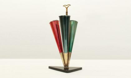 Portaombrelli in marmo ed ottone anni '50, umbrella stand, mid century modern, marble, brass, colored, italian design, 50's, cesare lacca