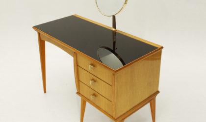 Toeletta con specchio anni '50, vanity desk, brass, glass, mid century modern, italian design, ottone, gio ponti, 50's, ico parisi