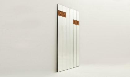 Specchiera modulare con appendiabiti a scomparsa Nino della Miniforms anni '90, mirror, hunger, italian modern design