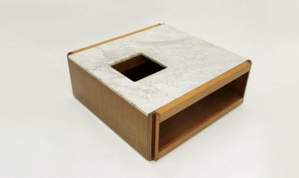 Tavolino quadrato 4D di Angelo Mangiarotti per Casaluci anni '60, mid century coffee table, molten, 60's, marble, italian modern design