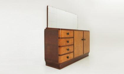 Credenza razionalista con specchio anni 30, sideboard, 30's, mid century modern, art deco, rationalist, italian, gio ponti, borsani, emilio lancia