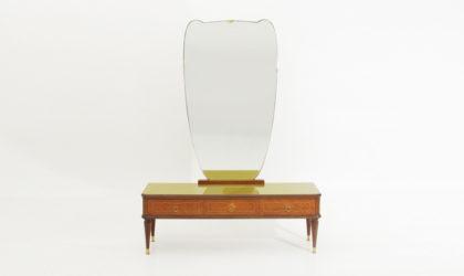 Toeletta con puntali in ottone anni '50, vanity desk, mid century modern, 50's, italian design, mirror