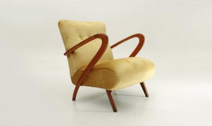 Poltrona in velluto giallo anni '40, mid century armchair, velvet, yellow, 40's, 50's, italian modern design, art decò