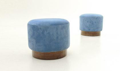Coppia di pouf in velluto blu anni '40, ottoman, art decò, 40's, italian mid century modern, design, velvet blue, 50's, briar