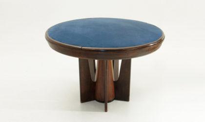 Tavolo da gioco Art Decò anni 30, game table, vintage, mid century, piano blu, blue top, italan design, modern,30's, 40's