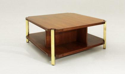 Tavolino in teak ed ottone anni '60, mid century coffee table, brass legs, 60's, italian design, ico parisi, carlo de carli
