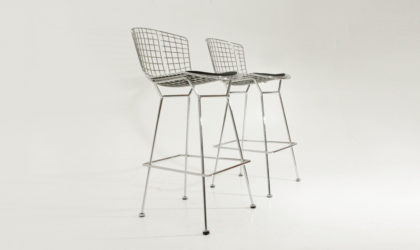 Coppia di sgabelli Bertoia di harry Bertoia per Knoll, mid century modern, stools, chromed, 50's, design, modern