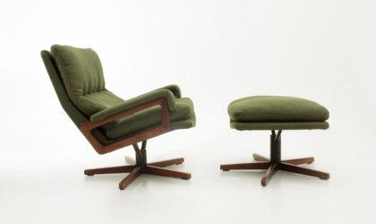 Poltrona con pouf King di Andre Vandenbeuck per Strassle anni 60, mid century armchair and pouf, 60's, design, modern, swiss,