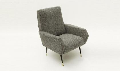 Poltrona in tessuto grigio anni '50, mid century armchair, gray, italian modern , busnelli, 50's, design, brass