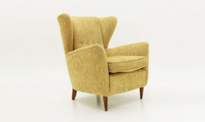 Poltrona in velluto beige anni '50, mid century armchair, velvet, 50's, italian modern, ico parisi, gio ponti, carlo de carli