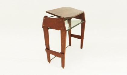 Consolle scrivania con ripiano in vetro anni '50, mid century desk/console, 50's, italian design modern, brown, glass, wood, albini, carlo de carli, ponti