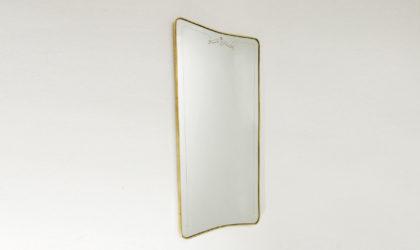 Specchio rettangolare con cornice in ottone anni '50, brass frame mirror, italian mid century modern, gio ponti, paolo buffa