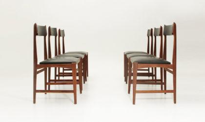 sei sedie in legno e skai anni '60, mid century dining chairs, 60's, italian design, black, nero, legno, wood, ico parisi, design, carlo de carli