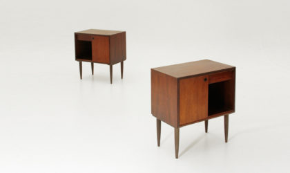 Coppia di comodini in teak con cassetto anni '50, nighstands, bed side table, italian mid century modern, ico parisi, paolo buffa, 60's, 50's