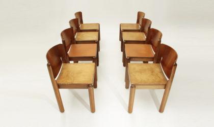 otto sedie modello 122 di Vico Magistretti per Cassina anni '60, mid century chairs, leather, italian modern, cuoio, 60's, legno, wood