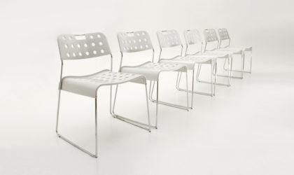 sei Sedie Omstak Bianche Di Rodney Kinsman Per Bieffeplast anni '70, vintage chairs, italian design, mid century modern, post modern, 70's