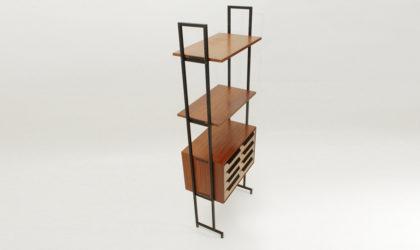 Libreria con cassettiera anni '50, mid century wall unit, teak, 50's, italian modern design, brown, wood,