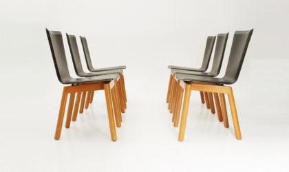 Sei sedie con seduta in pelle anni '80, post modern chairs, 80s, italian design, leather, tobia scarpa, molteni, bernini.