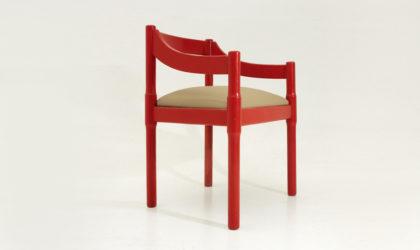 sedia Carimate di Vico Magistretti per Cassina anni '60, dining chairs, red, rosse, mid century modern italian, vintage,